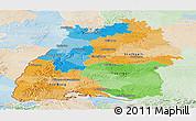 Political Panoramic Map of Baden-Württemberg, lighten