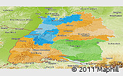 Political Panoramic Map of Baden-Württemberg, physical outside