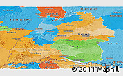 Political Panoramic Map of Baden-Württemberg, political shades outside