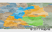 Political Panoramic Map of Baden-Württemberg, semi-desaturated