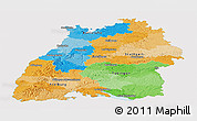 Political Panoramic Map of Baden-Württemberg, single color outside