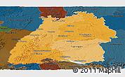 Political Shades Panoramic Map of Baden-Württemberg, darken