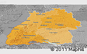 Political Shades Panoramic Map of Baden-Württemberg, desaturated