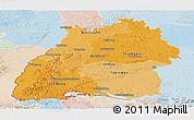 Political Shades Panoramic Map of Baden-Württemberg, lighten