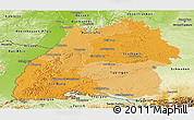 Political Shades Panoramic Map of Baden-Württemberg, physical outside
