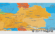 Political Shades Panoramic Map of Baden-Württemberg