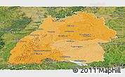 Political Shades Panoramic Map of Baden-Württemberg, satellite outside