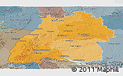 Political Shades Panoramic Map of Baden-Württemberg, semi-desaturated