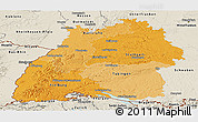 Political Shades Panoramic Map of Baden-Württemberg, shaded relief outside