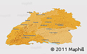 Political Shades Panoramic Map of Baden-Württemberg, single color outside