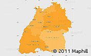 Political Shades Simple Map of Baden-Württemberg, single color outside