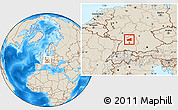 Shaded Relief Location Map of Heilbronn