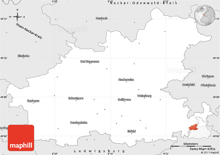 Silver Style Simple Map of Heilbronn