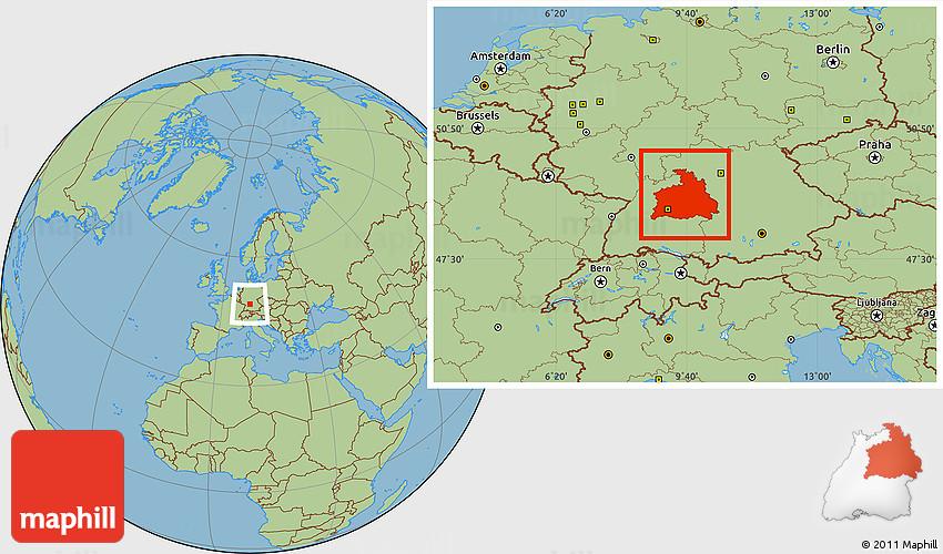 Savanna Style Location Map of Stuttgart