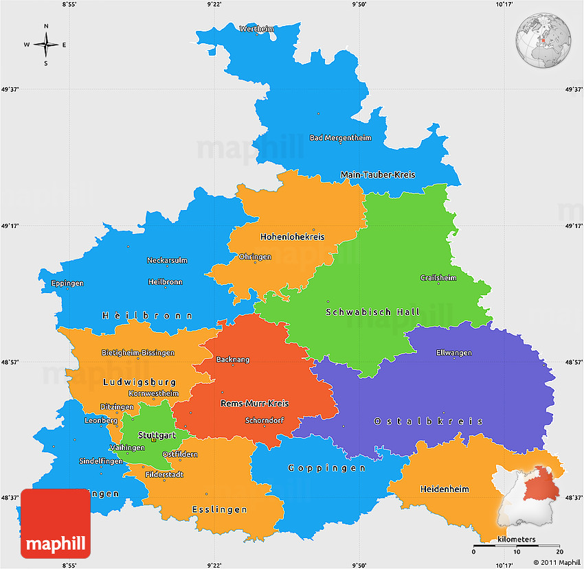 Political Simple Map of Stuttgart single color outside