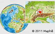 Physical Location Map of Tübingen, highlighted parent region