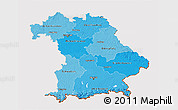 Political Shades 3D Map of Bayern, cropped outside
