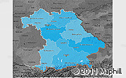 Political Shades 3D Map of Bayern, darken, desaturated