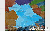 Political Shades 3D Map of Bayern, darken