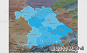 Political Shades 3D Map of Bayern, darken, semi-desaturated