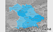 Political Shades 3D Map of Bayern, desaturated