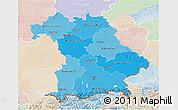 Political Shades 3D Map of Bayern, lighten