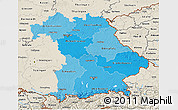 Political Shades 3D Map of Bayern, shaded relief outside