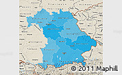Political Shades Map of Bayern, shaded relief outside
