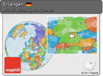 Free Political Location Map Of Erlangen Highlighted Parent Region - Erlangen map
