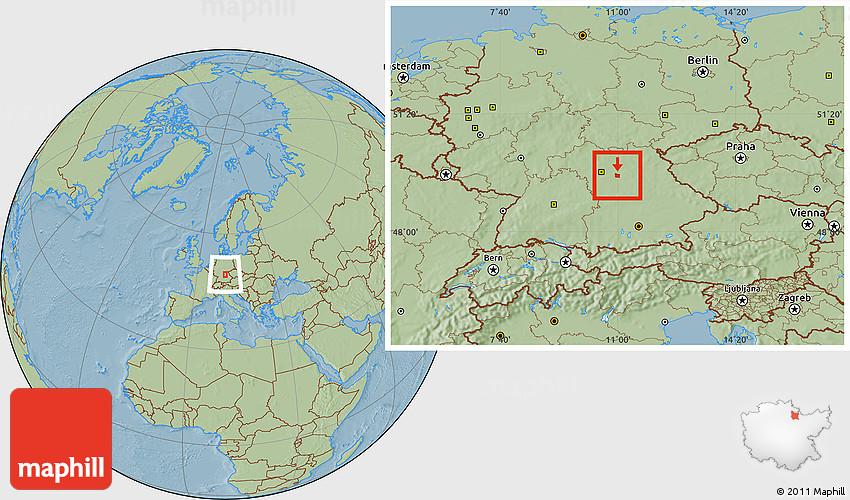 Savanna Style Location Map Of Erlangen Hill Shading - Erlangen map