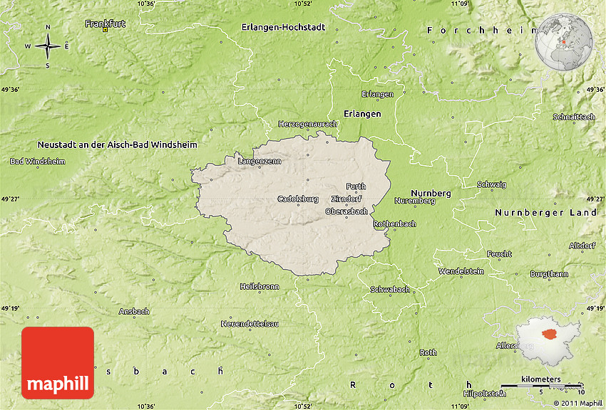 Shaded Relief Map of Fürth, physical outside