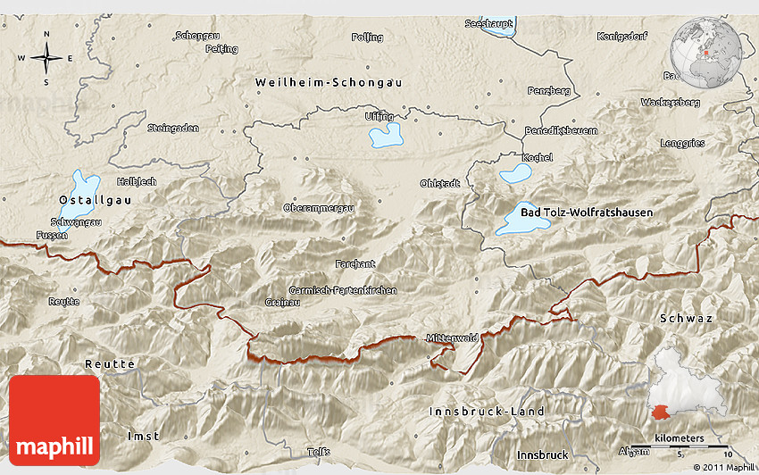 Shaded Relief 3d Map Of Garmisch Partenkirchen