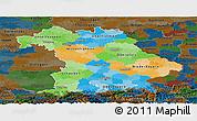 Political Panoramic Map of Bayern, darken