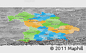Political Panoramic Map of Bayern, desaturated