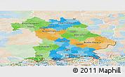 Political Panoramic Map of Bayern, lighten