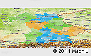 Political Panoramic Map of Bayern, physical outside