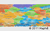 Political Panoramic Map of Bayern, political shades outside