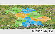 Political Panoramic Map of Bayern, satellite outside