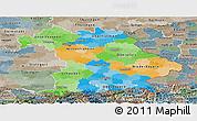 Political Panoramic Map of Bayern, semi-desaturated