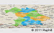 Political Panoramic Map of Bayern, shaded relief outside