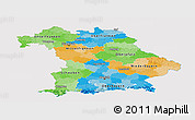 Political Panoramic Map of Bayern, single color outside