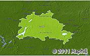 Physical 3D Map of Berlin, darken