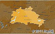 Political 3D Map of Berlin, darken