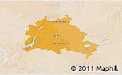 Political 3D Map of Berlin, lighten