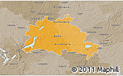 Political 3D Map of Berlin, semi-desaturated