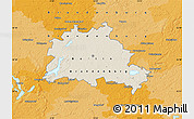 Shaded Relief Map of Berlin, political outside