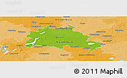Physical Panoramic Map of Berlin, political outside