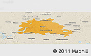 Political Panoramic Map of Berlin, shaded relief outside