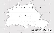 Silver Style Simple Map of Berlin, cropped outside