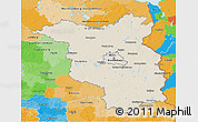 Shaded Relief 3D Map of Brandenburg, political outside